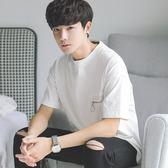 夏季新款韓版寬鬆T恤男小清新個性拉鏈裝飾五分袖T青少年學生