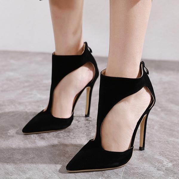 高跟短靴 絨質側邊挖空細跟 騎士靴 中靴 踝靴*KWOOMI-A121