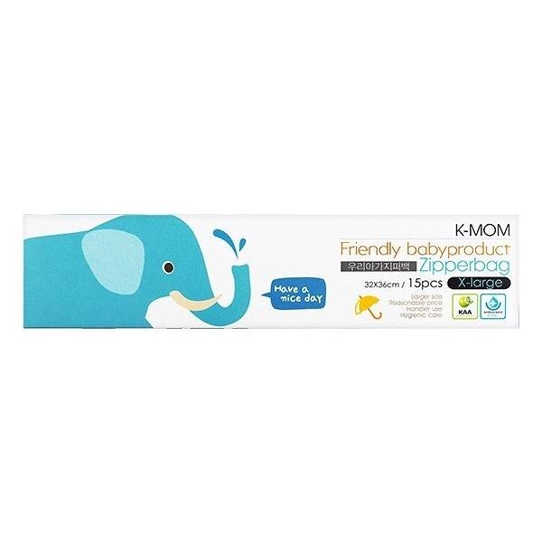 韓國 K-MOM 動物家族抗菌儲存袋(小象麥麥XL)15入/盒【小三美日】MOTHER-K