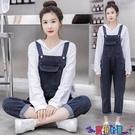 吊帶褲 2021年春季韓版寬鬆網紅時尚黑色牛仔背帶褲套裝女洋氣減齡新品