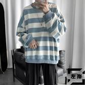 長袖T恤條紋上衣寬鬆打底衫男士秋季【左岸男裝】