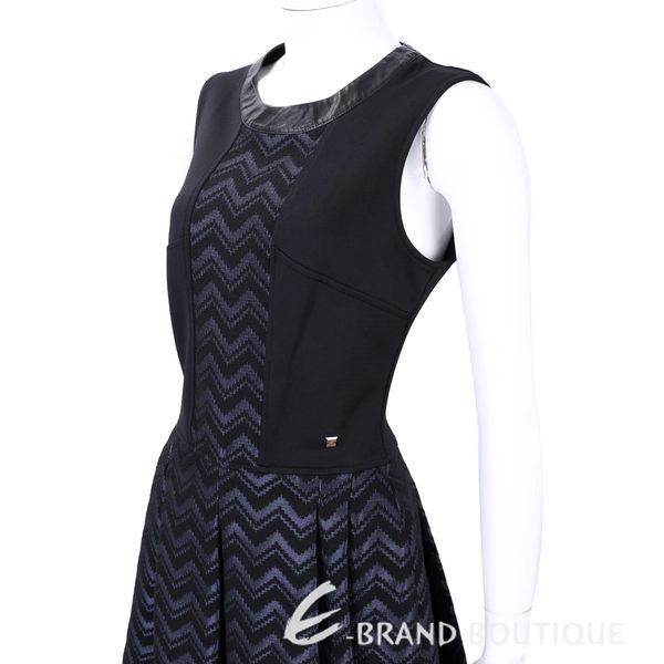 TRUSSARDI 黑x藍色拼接圖紋無袖洋裝 1540366-61