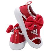 Adidas 小童鞋粉白米妮魔鬼氈休閒鞋-NO.D96910