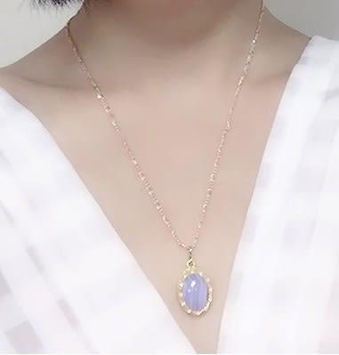 [協貿國際]天然藍紋瑪瑙鑲嵌橢圓形吊墜鍍24K金鍊單條價