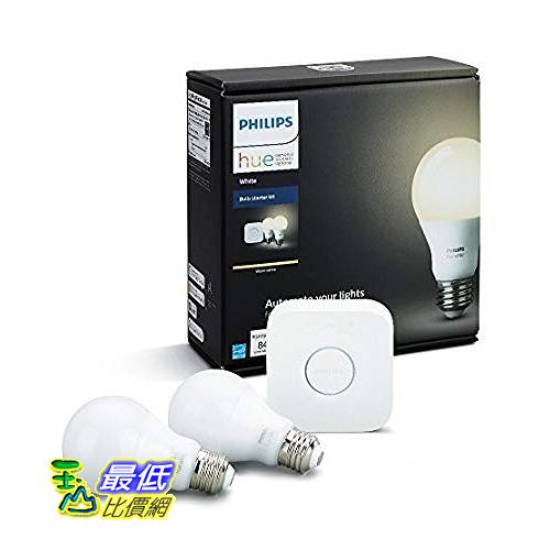 [8美國直購] Philips 飛利浦智能燈泡套裝 Hue White A19 60W Equivalent Dimmable LED Smart Bulb Starter Kit