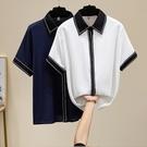 襯衫上衣短袖XL-5XL2240夏裝新款大碼女裝胖mm200斤寬松顯瘦開衫雪紡衫短袖襯衫F5026胖妞衣櫥