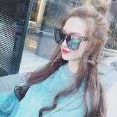 網紅同款M復古墨鏡女潮冬季圓臉超大方框嘻哈太陽眼鏡三角衣櫥