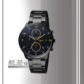 agnes b. 法國時尚三眼計時腕錶-黑X金刻度