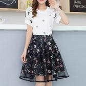 歐根紗裙-3D立體網紗精緻印花蓬蓬短紗裙69l39【巴黎精品】