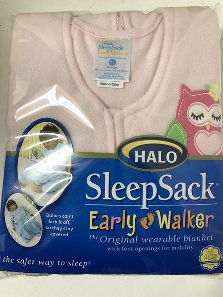 刷毛粉貓頭鷹X L號 美國Halo Sleepsack 防踢睡袍 防踢背心 Halo防踢衣,寒冷的天氣裡能保暖-超級BABY