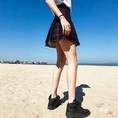 八八折促銷-夏季新品學院風格子百褶裙短裙高腰學生修身A字裙半身裙褲裙子女