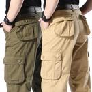潮流長褲 純棉工裝長褲男多口袋厚款休閒褲加肥加大寬鬆褲子中老年人爸爸裝