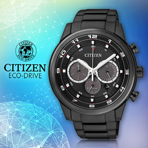 CITIZEN 星辰手錶專賣店 CA4035-57E 男錶 Eco-Drive光動能 鍍黑不鏽鋼錶殼錶帶 強化玻璃鏡面 100米防水