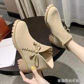 甜美短靴女百搭新款秋冬季女鞋加絨中跟粗跟英倫風瘦瘦靴子潮 夢露時尚女裝