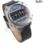Click 電度錶 創意 造型 腕錶 創新風格 趣味 皮帶 銀色 男錶 CL-713A-SVBK-R