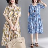 洋裝 連身裙 文藝棉麻女裝大碼收腰裙200斤韓版寬鬆顯瘦皺褶減齡藏肉洋裝子