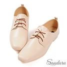 紳士鞋 簡約素面皮革方頭小皮鞋-米