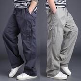 工裝褲男 春秋季休閒褲男薄款加大碼加肥胖人長褲直筒寬鬆男士運動褲子男潮 瑪麗蘇
