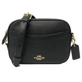 【COACH】專櫃款牛皮前口袋斜背方包/相機包(小款/黑)