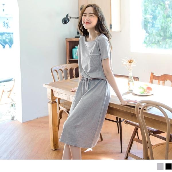 《DA7301-》高含棉純色腰抽繩短袖懶人洋裝 OB嚴選