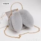 熱賣毛絨包 毛毛包2021新款手提毛絨鍊條小包包女手機包可愛兔子側背斜背包【618 狂歡】