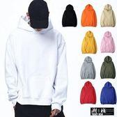 『潮段班』【PD000497】台灣製 美式風格落肩無抽繩設計素面連帽長袖T恤
