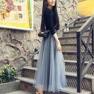 新款黑色網紗半身裙中長款女甜美高腰a字裙...