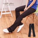 西裝褲--完美的修長腿型-寬版褲頭半圓弧造型喇叭西裝褲(黑M-5L)-P68眼圈熊中大尺碼