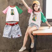女童套裝洋氣韓范短袖時髦潮套裝【聚寶屋】