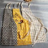 圍裙 日式圍裙簡約棉麻成人廚房工作 咖啡館畫室面包店男女時尚圍裙圍裙 小宅女