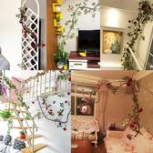 模擬玫瑰花藤假花藤條客廳空調管道裝飾遮擋室內吊頂塑膠藤蔓植物 新年禮物