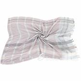 FABIANA FILIPPI 莫代爾羊毛混紡金蔥格紋流蘇圍巾(灰粉色) 1940299-05
