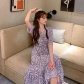 雪紡洋裝法式復古紫色碎花連身裙女2020年春季新款初戀雪紡v領短袖魚尾裙 suger