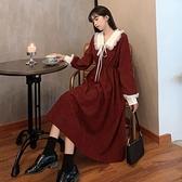 大碼洋裝 秋冬大碼女裝法式甜美娃娃領長裙子胖mm收腰顯瘦溫柔風長袖連身裙 芊墨 618大促