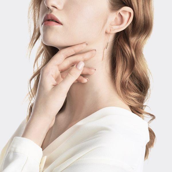 點睛品 Ear Play 18K玫瑰金鑽石線條單邊耳飾