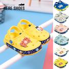 [Here Shoes](童鞋14-18)2cm涼鞋 PU 防水防雨 卡通狗狗平底圓頭兩穿涼拖鞋 海灘鞋-ABBD102