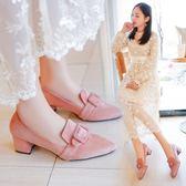 韓版中跟粗跟單鞋女夏秋新款尖頭百搭豆豆鞋英倫風復古小皮鞋  卡布奇諾