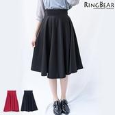 質感--時尚俏麗名媛高腰半身裙隱形拉鍊中長款赫本傘裙蓬蓬裙(黑.紅XL-5L)-Q71眼圈熊中大尺碼