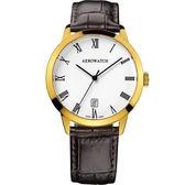 AEROWATCH 羅馬雅仕經典時尚腕錶-金框x咖啡/40mm A42972JA01