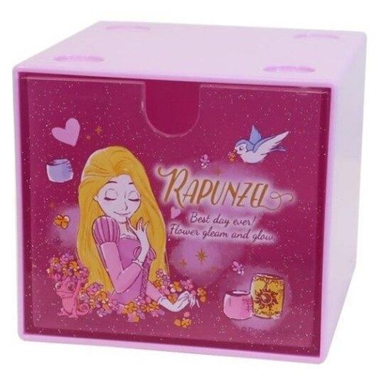 小禮堂 迪士尼 長髮公主 方形單抽收納盒 透明抽屜盒 積木盒 飾品盒 可堆疊 (紫 閉眼) 4548626-11903