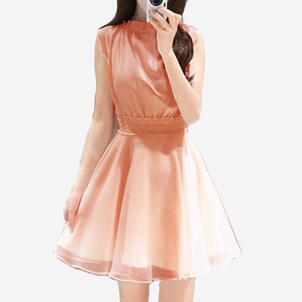 高雅立領無袖蕾絲腰洋裝 [粉色] MDD160009