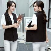 西裝馬甲 2018新款韓版女士黑色一粒扣西服外套 GY887『毛菇小象』