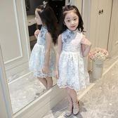 女童連身裙蕾絲旗袍洋氣裙子