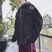夾克衫男正韓寬鬆翻領棒球服學生秋季bf風牛仔外套青年潮