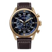 CITIZEN 光動能時尚計時三眼腕錶-深咖X藍