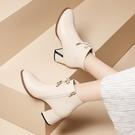 小短靴白色中跟米色媽媽皮鞋粗跟秋冬季女靴子新款女士高跟鞋 【母親節特惠】