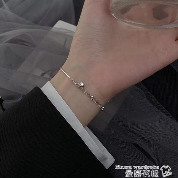 手鍊 925純銀轉運珠手鍊女ins小眾設計百搭手飾簡約學生雙層冷淡風飾品 曼慕