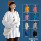 白色長袖t恤女ins潮2021新款韓版寬鬆純棉上衣春季百搭內搭打底衫