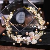 髮飾超仙韓國女童頭飾珍珠髮箍彩色花環兒童新年走秀演出花童表演飾品 1件免運