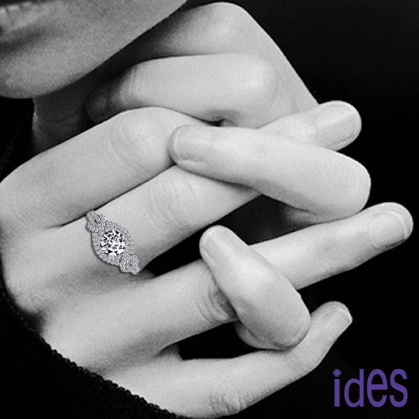 ides愛蒂思  GIA認證1克拉設計款F/VS2八心八箭3EX完美車工鑽石戒指/歐風奢華